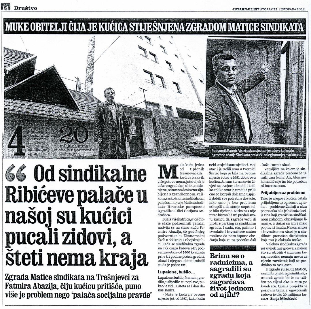 Jutarnji list, utorak 23. listopada 2012.