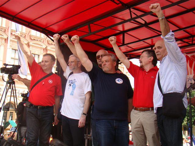 Sindikalni lideri na Trgu bana Jelačića, 1.5.2013.