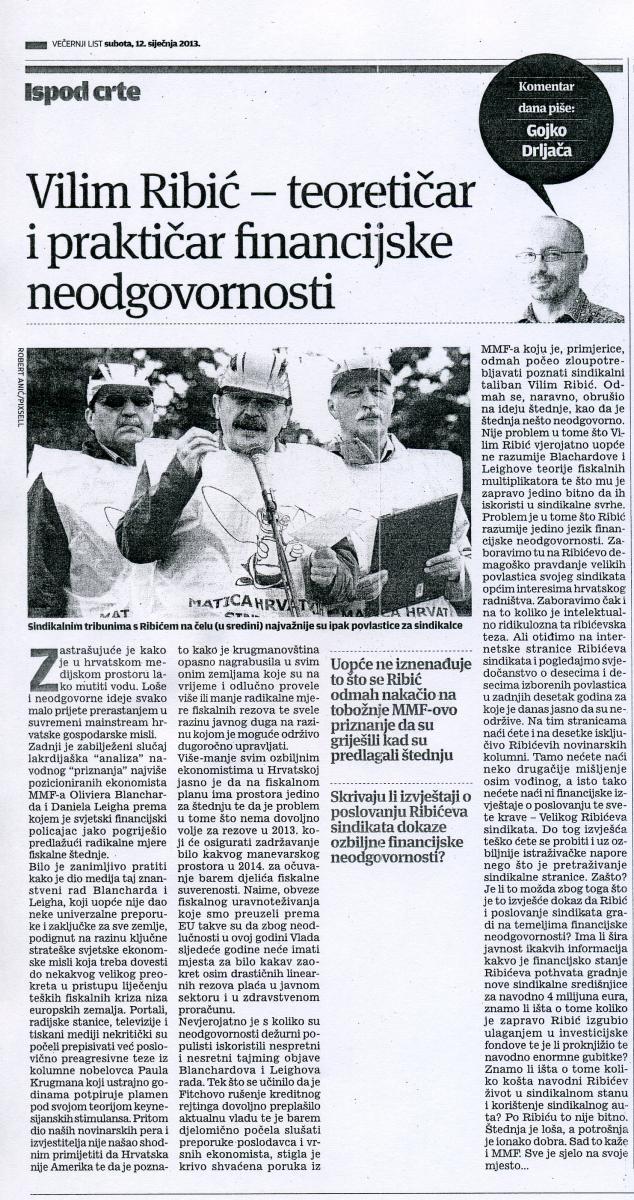 Večernji list, 12.1.2013. - komentar dana